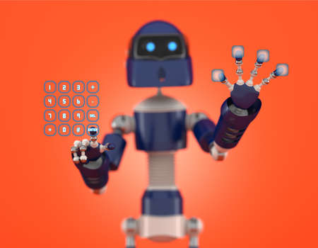Robot that point on digital interface with orange background photo