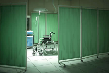 bad behavior: Wheelchair in hospital room - high quality render Editorial