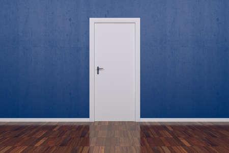 Room with white door
