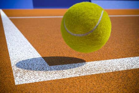 Tennis ball to corner red ground field line Stock Photo