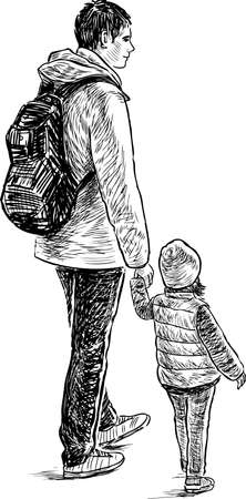 A young father with his little daughter Illustration