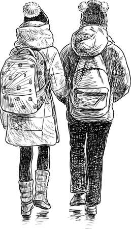 passerby: The school girls go to home