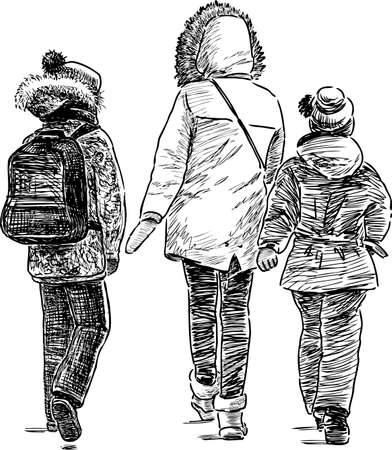 A woman with her children go to home Illustration