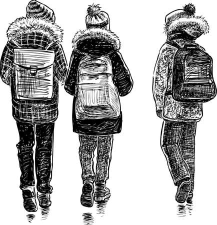 passerby: The school girls go to school Illustration