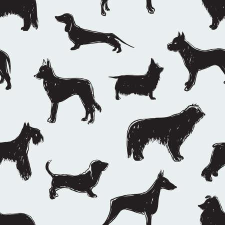 As silhuetas dos diferentes cães Foto de archivo - 83414343