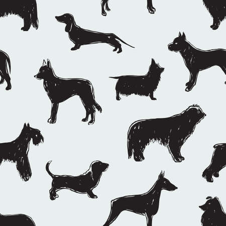 The silhouettes of the different dogs Illustration