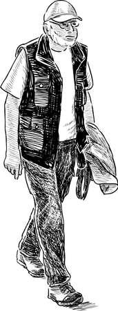 Sketch of a walking elderly tourist