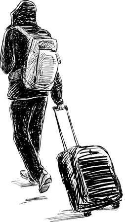 ide: A tourist walk with the baggage