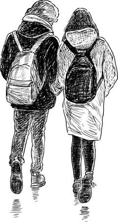 striding: Vector drawing of the students on the walk.