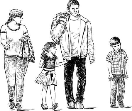 Skizze der flanierenden Familie Vektorgrafik