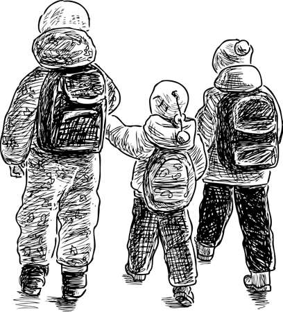 striding: Sketch of the kids on a stroll Illustration