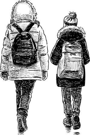 The school girls go to school.