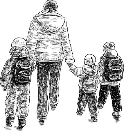 passerby: Mother with her kids on a walk