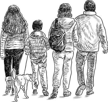 산책 가족의 스케치