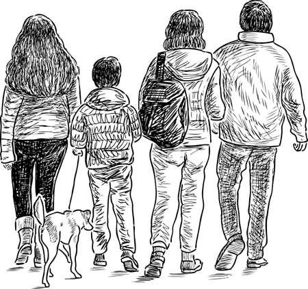 Croquis d'une famille en promenade