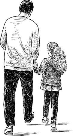 striding: Father and daughter on a stroll Illustration