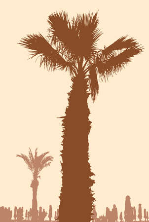 Vector image of the palm trees on the coast of a Greek resort