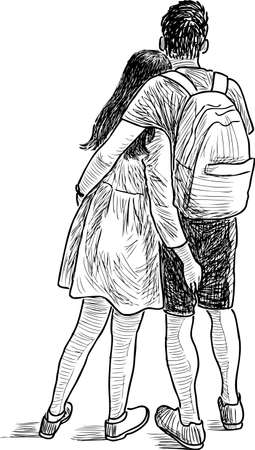 backview: The loving young people on a date
