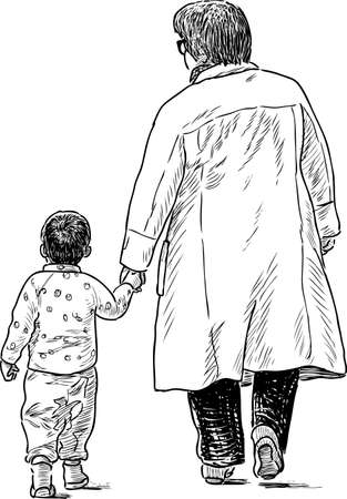 Vector drawing of an elderly woman with her grandson on a walk.