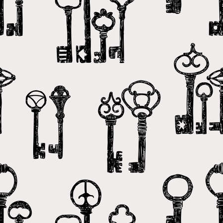 Vector pattern of the sketches of the old keys.