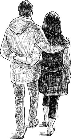 Vector drawing of a loving couple on a stroll.