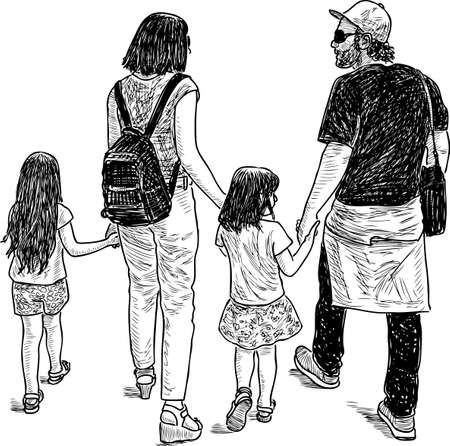 Sketch of a young family on a walk Illustration