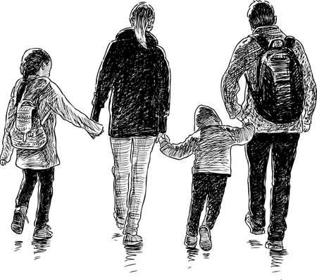 散歩で若い家族の図面のベクトル。