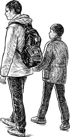 Sketch of a father with his son Illustration
