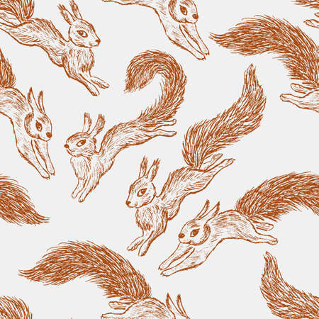 Vector pattern of the funny squirrels. Illustration