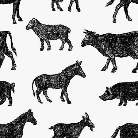 Vector pattern of the different farm animals.