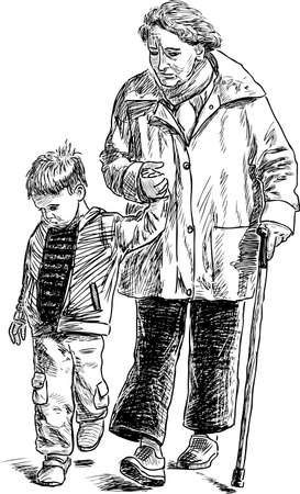 Sketch of a grandmother with her grandson on a stroll