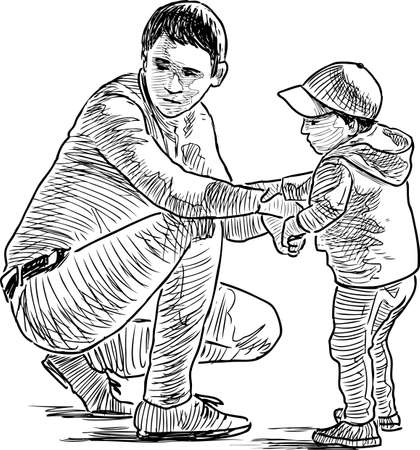 Vector drawing of a man with his son on the playground in the city park. Illustration