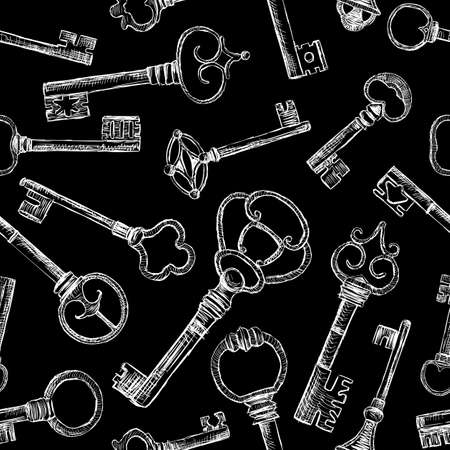 Vector pattern of the different vintage keys.
