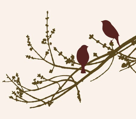 The birds on a branch in a spring day Illustration