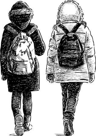 The school girls go to school Illustration