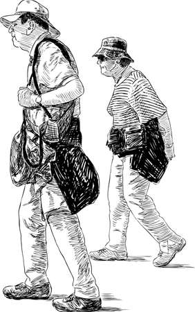 Sketch of the elderly tourists spouses.