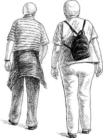 backview: Elderly spouses on a stroll Illustration