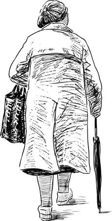 striding: Elderly woman on a walk Illustration