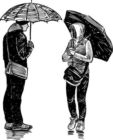 Young townspeople in the rain