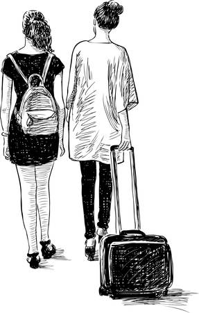 striding: The young women are in a vacation