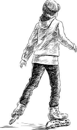 backview: A teen girl rides on the roller skates