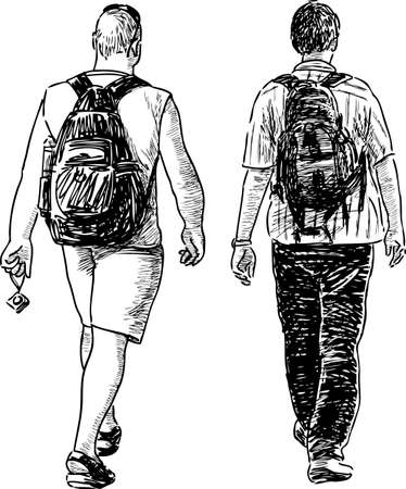 Sketch of the casual towns pedestrians