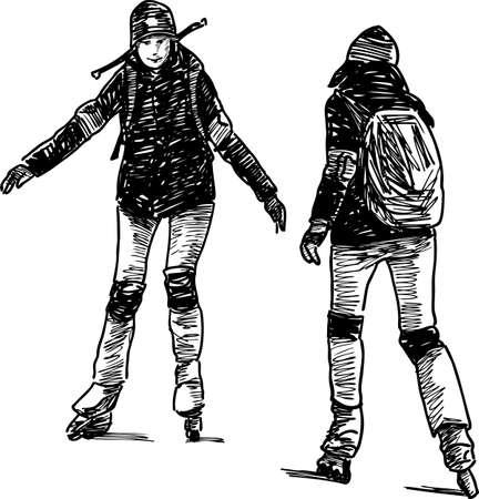 The teens girls on the roller skates