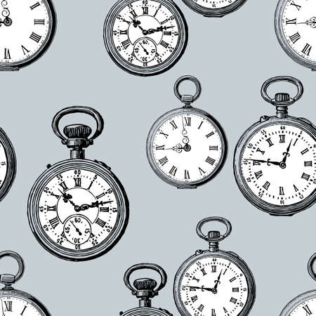 Patrón de vector del reloj de bolsillo vintage Foto de archivo - 83382005