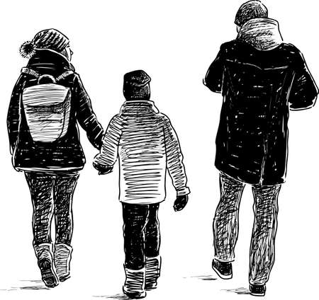 The parents with their kid on a walk