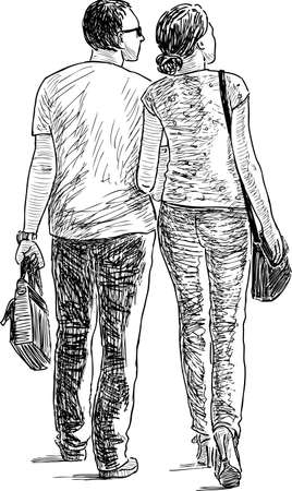 Sketch of the couple of the casual city dwellers