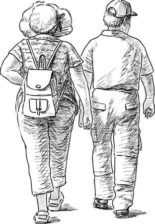 Los cónyuges ancianos en un paseo. Foto de archivo - 83358097