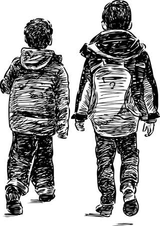 striding: Sketch of the little brothers on a stroll Illustration