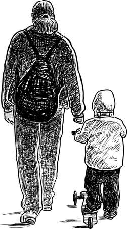 A parent walks with his kid Illustration