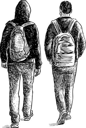 striding: The casual guys go away Illustration